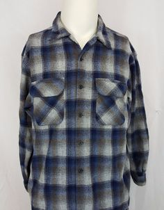 Pendleton Plaids & Checks Regular XL Casual Shirts for Men Plaid Flannel, Blue Plaid, Blue Grey, Gray, Casual Shirts For Men, Men Casual, Wool, Mens Tops, How To Wear