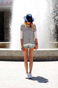 mango navy stripe sweater, urban outfitters light wash denim cut-off shorts, white converse, navy roxy hat