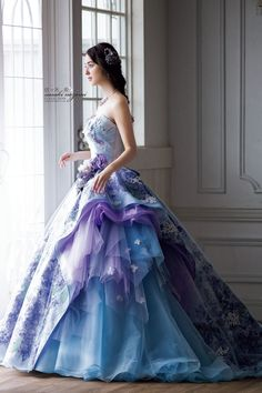 Praise Wedding: This lavender ball gown from Sasaki Nazomi featuring floral lace appliques is off the charts beautiful! Wedding Dress Patterns, Blue Wedding Dresses, Wedding Dress Trends, Prom Dresses, Lavender Wedding Dress, Lavender Gown, Lavender Blue, Debut Gowns, Embellished Dress