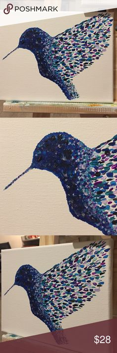 Blackberry Hummingbird Wall Art Hand painted Blackberry Hummingbird Wall Art. Perfect gift to brighten up yours or someone's Wall.  Back stapled onto wooden frame  Allyamy Accessories