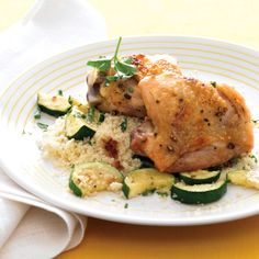 ❤️ Roasted Chicken Thighs with Zucchini and Couscous Recipe | Food Recipes - Yahoo Shine