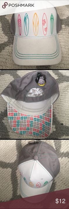 NWT Summer Premium Girls Surfboard Hat Super cute hat - front is white with surfboards-🏄🏽‍♀️gray back with teal green trim throughout. Adjustable Velcro back. Perfect for a day at the beach or pool! Summer Pugs Premium Accessories Hats
