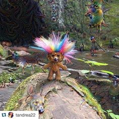 #Repost @tandrea22  Welcome to the jungle #deepdream #troll #colorful #forest #camping #psychedelic #animals #trippy #vivid by google_deep_dream