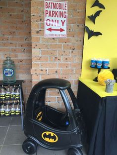 Batmobile parking at a Batman birthday party! See more party planning ideas at CatchMyParty.com!