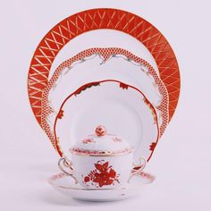 Place Setting 4 Piece Orange Mixed Set painted in Orange colour - Herend fine china hand painted. Rust Orange, Orange Color, Colour, Gilded Edge, Orange Design, Orange Crush, China Dinnerware, Fine China, Place Settings