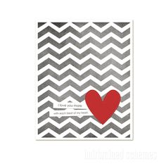 Every Beat of My Heart - Love Wedding Nursery Gray Grey Chevron Gold Yellow Heart - Love Art Print
