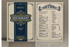 Restaurant Menu Layout with Ornamental Elements #menu #card #food #vintage #western #restaurant #bar #retro #template #ornaments Restaurant Menu Template, Menu Restaurant, Business Brochure, Business Card Logo, Salad Restaurants, Western Restaurant, Menu Layout, Journal Cards, Food Menu