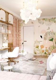 Wallpaper with flamingos and an air ceiling lamp by Giopato & Coombes for creating a modern child's bedroom. ____________ Обои с фламинго и воздушная люстра от Giopato & Coombes для создания современной детской спальни.