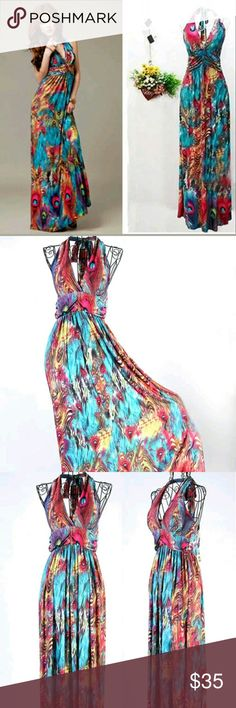 *NWT*Halter Maxi dress This halter dress is really pretty. The print is vibrant and bright - perfect for spring and summer wear. The open back conveys a cheeky look while being appropriate at the same time. Dresses Maxi