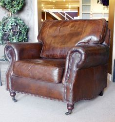 Antique Look distressed vintage Leather Armchair. Antique finish to give a naturally distressed look. Quality hardwood Frame 8 way hand tied springs and a combination of foam, fibre and duck down fillings. Cosy Sofa, Chesterfield Chair, French Furniture, Vintage Leather, Accent Chairs, Living Room, Armchairs, Sofas, Stuff To Buy