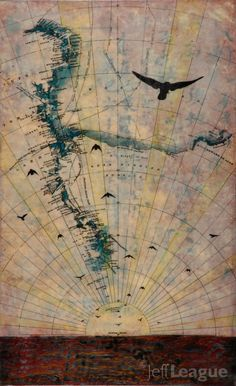 Mixed media photo transfer of birds in flight with encaustic painting over antique map of Antarctica. Vintage Maps, Antique Maps, Jouer Du Piano, Map Projects, Map Painting, Old Maps, Encaustic Painting, Map Art, Mixed Media Art