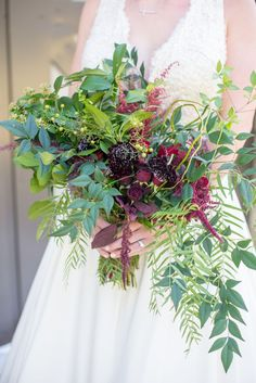 Natural wedding bouquet, red and maroon florals, loose leaves, wildflowers // Lexie Faucher Photography