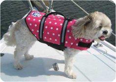 Paws Aboard Designer Doggy Life Jacket - Pink Polka Dot