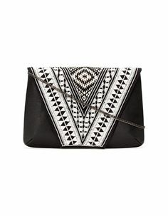 STRADIVARIUS - Stonework embellished leather clutch