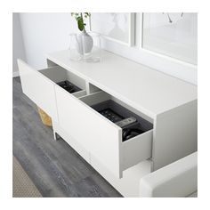 BESTÅ Storage combination w doors/drawers - white/Selsviken high-gloss/white, drawer runner, soft-closing - IKEA