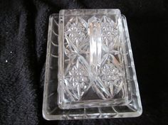 English Vintage Wedge Shaped  Cut Clear Glass Cheese circ 1980s  £15.00 ($25)