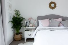Lauren's bedroom makeover. Editor Lauren tells us how she created a restful and dreamy master bedroom using a grey white and blush color palette. Pink Bedroom Design, Blush Bedroom, Pink Bedroom For Girls, Pink Bedroom Decor, Pink Bedrooms, Room Ideas Bedroom, Bedroom Sets, Dream Bedroom, Bedroom Colors