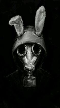 heeeee I made a post-apocalyptic character who runs around in a gas mask, half-jacket and fake rabbit ears and calls themself The White Rabbit fun stuff! feels good to paint something decent for on. Gas Mask Art, Masks Art, Gas Masks, Gas Mask Drawing, Inspiration Art, Art Inspo, Art Sinistre, Arte Horror, Creepy Art