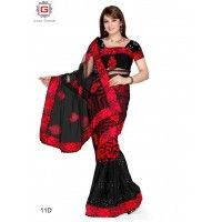 PARTY WEAR SAREE  COLOUR-BLACK OR RED  FABRIC-GEORGETTE