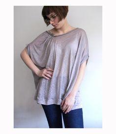Odd Fall Asymmetrical oversize tshirt in mauve pink  by nivule, €45.00