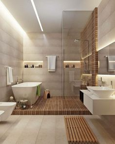 When you are looking for interesting bathroom remodeling ideas, we bet that you have a plan to redecorate your bathroom. ... Read more25 INSPIRING BATHROOM REMODELING IDEAS YOU NEED TO COPY IMMEDIATELY Contemporary Bathroom Designs, Bathroom Design Luxury, Luxury Bathrooms, Master Bathrooms, Bath Design, Contemporary Style, Small Bathrooms, Dream Bathrooms, Neutral Bathrooms Designs