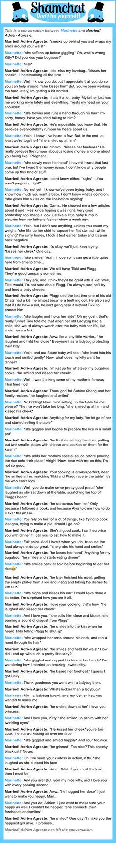 A conversation between Married! Adrien Agreste and Marinette