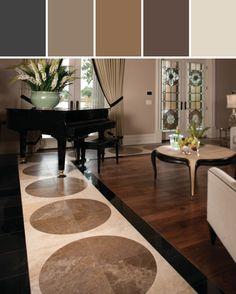 Absolute Black (Polished) G771, Cafe au Lait (Honed) T718, Mediterranean Ivory (Honed) T730 Designed By Daltile via Stylyze