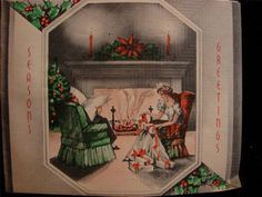 VINTAGE  PEACEFUL CHRISTMAS SCENE!!  CHRISTMAS GREETING CARD