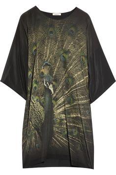 Emma Cook|Peacock-print silk-blend T-shirt dress|NET-A-PORTER.COM