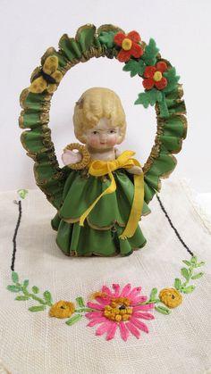 Vintage Bisque Frozen Charlotte Doll Green Flower Arbor & Dress  RARE