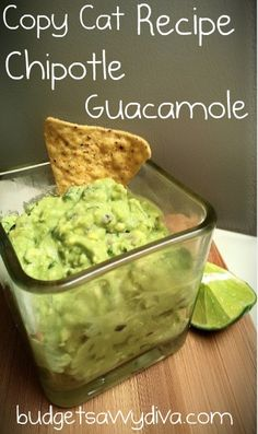 Chipotle's Guacamole - Copy Cat RecipeIngredients ◦3 Ripe Avocados ◦1/2 Cup of Chopped Red Onions ◦1/2 Cup of Chopped Cilantro ◦1/3 Cup Chopped Jalapeno ◦1/8 Cup of Lemon and Lime Juice — 80/20 ratio ◦Pinch of Salt Instructions 1.Place Avocados in a bowl and mash with a fork – You will want to leave it a little chunky. 2.Add all the other ingredients and mix 3.Enjoy!!!!