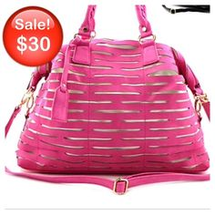 """New - Handbag with Strap This fuchsia handbag is designed with laser cut out. Has zip top closure, back zip pocket, one inside zip pocket and open pockets. Not real leather and removable strap. H:10.5"""", W:16"""", D:5.5"""" main handles 8"""". Bags"""