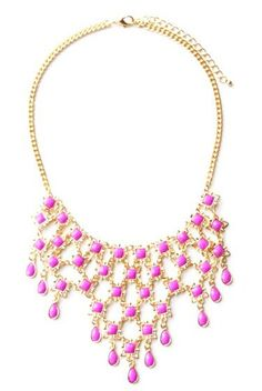 Morpheus Boutique  - Hot Pink Crystal Stone Droplet Statement Gold Limited Edition Necklace , CA$81.02 (http://www.morpheusboutique.com/jewelry-watches/necklaces/hot-pink-crystal-stone-droplet-statement-gold-limited-edition-necklace/)