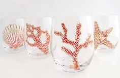 Hand Painted Sea Motif Coral/Gold Glassware, Set of 4 tropical glassware