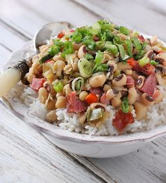 Hoppin' John Rice Bowls | SoupAddict.com - the famous Southern dish with black eyed peas, ham, and the Cajun holy trinity of onions, celery, and peppers brings luck in the New Year, and makes a downright tasty dinner, too.
