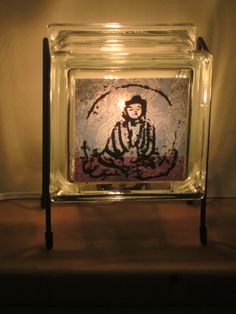Night Light FREE SHIPPING Eco-friendly brownd and blue Seated BUDDHA Glowblock handmade glass block lamp for meditation room Buddhist calm (46.00 USD) by Glowblocks