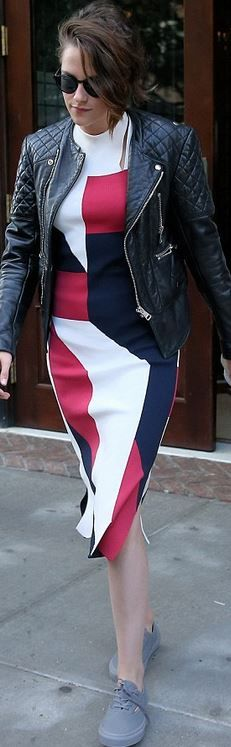 Kristen Stewart: Dress – Thakoon  Jacket – Balenciaga  Shoes – Vans