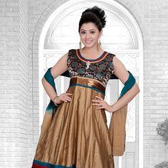 Beige Chanderi Art Silk Readymade Anarkali Churidar kameez