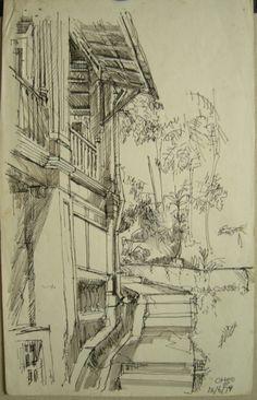 Goh Ee Choo- early NAFA in Singapore 1980 pen on paper