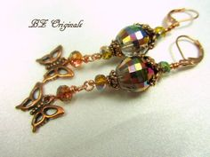 Butterfly Earrings in Multicolor Golden Vitral by BZOriginals, $18.95