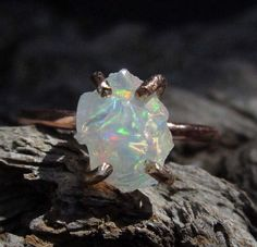 Raw Opal Ring Gold Set Opal ring raw rough rainbow by mossNstone