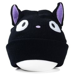 3970ad2f8a2 Stylish Cartoon Eyes Embroidery and Cat Ear Shape Embellished Knitted Beanie  For Women Cartoon Eyes
