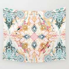 A bright, colorful, boho spring time pattern in soft pastels, black and white. <br/> <br/> bohemian...