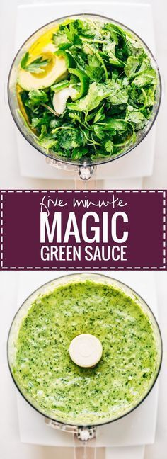 5 Minute Magic Green Sauce - use on salads with chicken or. 5 Minute Magic Green Sauce - use on salads with chicken or just as a dip! Easy ingredients like parsley cilantro avocado garlic and lime. Sauce Recipes, Whole Food Recipes, Vegetarian Recipes, Cooking Recipes, Healthy Recipes, Magic Sauce Recipe, Vegan Vegetarian, Chicken Recipes, Tasty Recipe