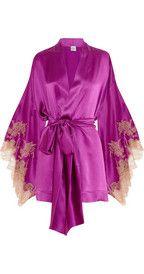 Carine GilsonThéme Tamara lace-appliquéd silk-satin robe
