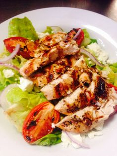 Grilled Chicken with Goat Cheese, Boston Bibb, Roasted Tomatoes, Red Onion, and Fig Vinaigrette Goat Cheese Stuffed Chicken, Grilled Chicken, Roasted Tomatoes, Figs, Vinaigrette, Healthy Eats, Chicken Wings, Onion, Grilling