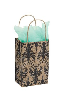 Distressed small Damask Paper Shopping Bag $29/100 5.25X 3.25X 8.75