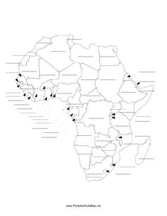 this printable map of the continent of africa has blank lines on which students can fill