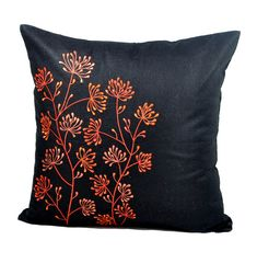 Flower Pillow Cover, Black Linen Orange Ixora Flower Embroidery, Decorative Throw Pillow Cover, Home Orange Throw Pillows, Floral Throw Pillows, Linen Pillows, Linen Fabric, Toss Pillows, Accent Pillows, Couch Pillows, Beige Pillow Covers, Decorative Pillow Covers