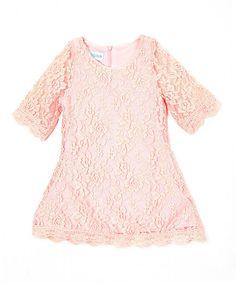 Look at this #zulilyfind! Pink Lace Three-Quarter Sleeve Shift Dress - Kids & Tween #zulilyfinds